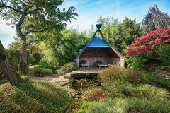 Characteristic gazebo with opportunity to relax Royalty Free Stock Images