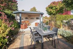 Characteristic gazebo with opportunity to relax. Apeltern, Netherlands, September 29, 2017: Appeltern Gardens in the Netherlands is an opportunity to meet fresh Royalty Free Stock Photography