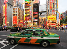Characteristic green Tokyo taxi, Japan Royalty Free Stock Photo