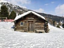 The characteristic Heidi wooden house in Saint Moritz, Switzerla. 24 march 2018-saint morirz-suisse-The characteristic Heidi wooden house in Saint Moritz Stock Photo