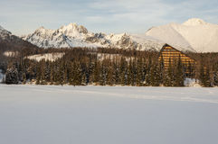 Characteristic Hotel in the High Tatras over the frozen Lake Str Royalty Free Stock Photo