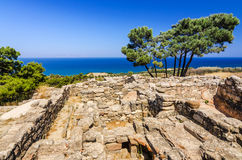 Characteristic Kamiros ruins. Beautiful summer landscape of Rhodes island stock photos