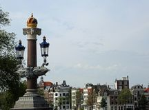 Characteristic lamppost above the crown in the bridge called Blu Royalty Free Stock Photography