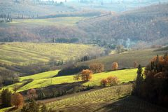 Characteristic landscape of Tuscany in autumn. The hills of Chianti south of stock images