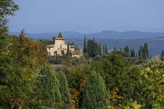 Characteristic landscape of Tuscany in autumn. The hills of Chianti south of royalty free stock photography