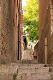 A characteristic narrow alley of Taormina. Sicily. Italy Stock Images