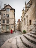 Characteristic alley of the Latin district in Paris. Characteristic stone paved alley of the Latin district in Paris Stock Photo