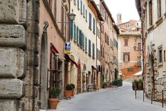 Characteristic view of a Montepulciano street, Tuscany, Italy. Europe Royalty Free Stock Image