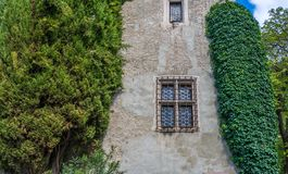 Characteristic window of an ancient building in South Tyrol, Meran, Italy Royalty Free Stock Images