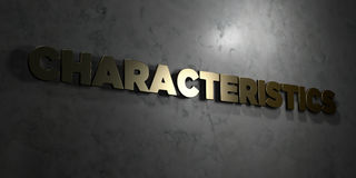 Characteristics - Gold text on black background - 3D rendered royalty free stock picture Royalty Free Stock Photos