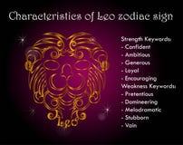 Characteristics of Leo zodiac sign. Personality Stock Photos