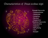 Characteristics of Pices zodiac sign. Personality Royalty Free Stock Photos
