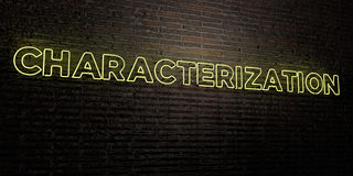 CHARACTERIZATION -Realistic Neon Sign on Brick Wall background - 3D rendered royalty free stock image Stock Photography