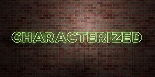 CHARACTERIZED - fluorescent Neon tube Sign on brickwork - Front view - 3D rendered royalty free stock picture Stock Images