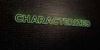 CHARACTERIZED -Realistic Neon Sign on Brick Wall background - 3D rendered royalty free stock image Stock Photos