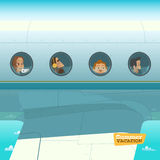 Characters in airplane vector illustration Royalty Free Stock Images
