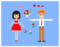 Characters for animation. Lovers. Vector royalty free illustration