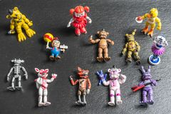 Characters,Animatronics small plastic figurines of Five Nights at Freddys video game stock photos