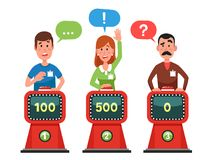 Characters answer test question on intellect show. Pressing button and answering quiz questions. Game competition vector. Characters answer test question on vector illustration
