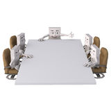Characters around rectangular table Stock Photo