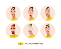Characters avatars emotion in the circle. Vector Illustration