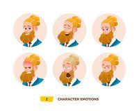 Characters avatars emotion in the circle. Royalty Free Illustration