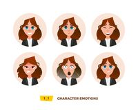 Characters avatars emotion in the circle. Stock Image