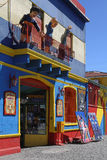 Characters at the balcony in La Boca district Royalty Free Stock Photo