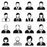 16 characters black icons set. Isolated on a white stock illustration