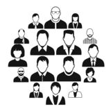 16 characters black icons set. Isolated on a white royalty free illustration