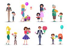 Characters with Bouquets and Gift Boxes Collection. Cartoon characters with tulips, bright gift boxes, pink roses, colorful balloons and bunches of gerberas Stock Photography
