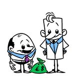 Characters businessmen and money bag Stock Image