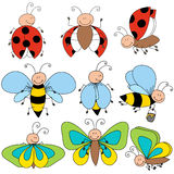 characters of butterfly, bee and ladybug Royalty Free Stock Images
