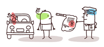 Characters and car - alcohol test. Cartoon characters and car - alcohol test Stock Photo