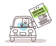 Characters and car - driving license Stock Photo