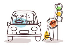 Characters and car - driving school Royalty Free Stock Photo