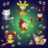 Characters of cartoon animals for texture. Funny cartoon characters for the texture. A set of little animals royalty free illustration