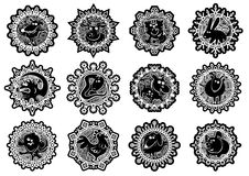 Characters Chinese zodiac signs in the snowflake. Black and white.Vector illustration stock illustration