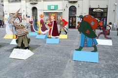 Characters of Christmas carols, on the one of the squares in the Stock Images