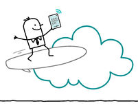 Characters and cloud - surf. Cartoon characters and cloud - surf royalty free illustration