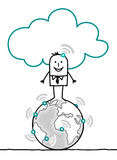 Characters and cloud - world. Cartoon characters and cloud - world Royalty Free Stock Image