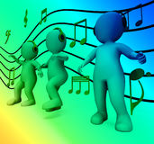 Characters With Colorful Lights Dancing Shows Music Disco And Pa Stock Photography