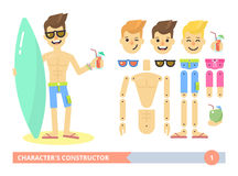 Characters constructor young fit man on the beach Royalty Free Stock Images