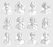 Characters design. Hand drawn icons. Faces sketch. Vector illlustration. Stock Images