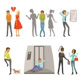 Characters in different scenes. Panic, fear and fright. Character with claustrophobia or cynophobia, vector illustration Stock Photos