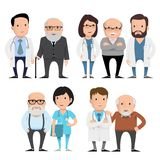 Characters doctors with elderly patients. Vector concept illustration Royalty Free Illustration