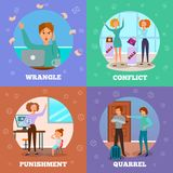 Angry Characters 4 Icons Concept. Characters expressing anger in conflict situation punishing kids quarreling wrangling 4 cartoon icons concept isolated vector Royalty Free Stock Photos