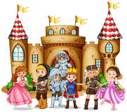 Characters from fairytales and castle Stock Images