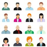 16 characters flat icons set. Colored illustration royalty free illustration