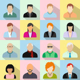 16 characters flat icons set Royalty Free Stock Images